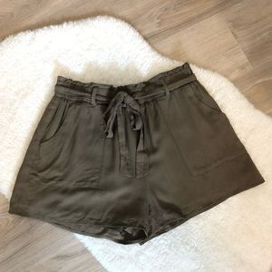 Olive Green, High Waisted Shorts